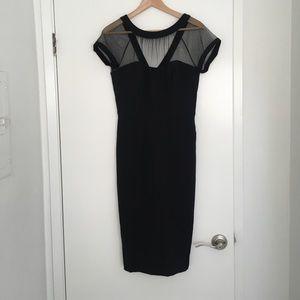 Black sheathed dress - midi - lace - sexy - size 6